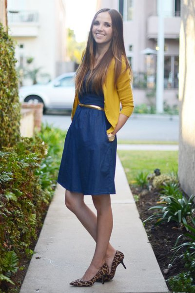 yellow bolero sweater blue belt flared mini dress