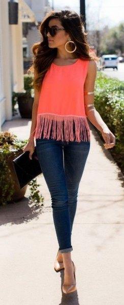 pink edging dark blue skinny jeans