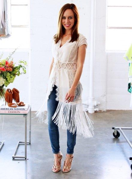 white crochet wrap fringed jeans