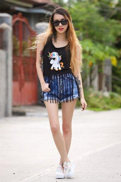black fringe top blue denim shorts