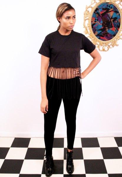 black fringe cropped t-shirt skinny jeans boots