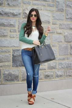 gray and white baseball t-shirt cuffed jeans sandals