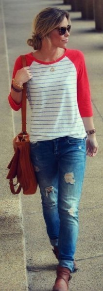 red and white striped baseball tee ripped boyfriend jeans