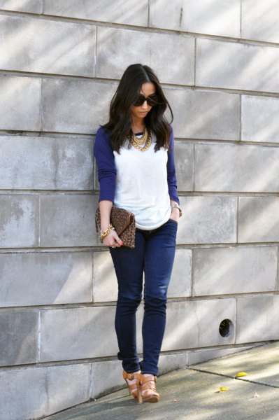 navy baseball t shirt jeans statement necklace