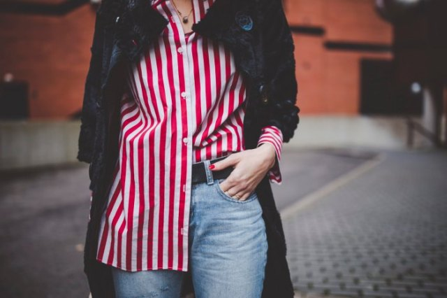red and white striped big shirt black wool long jacket