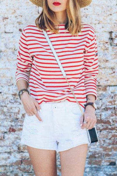 red striped t-shirt white mini shorts