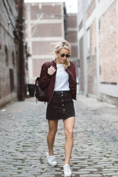 maroon cotton jacket with black button front corduroy mini skirt