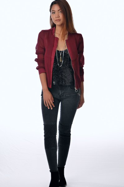 maroon bomber jacket black velvet vest top