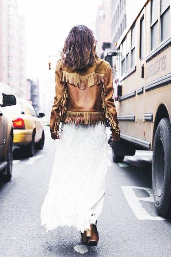 French leather jacket white dress