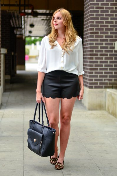 white half-heated button up shirt black combed shorts
