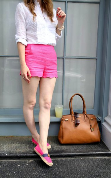 white patterned pink shorts