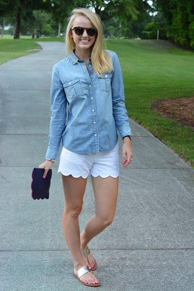 chambray shirt white combed shorts
