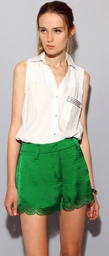 white sleeveless shirt green silk and lace with short lace