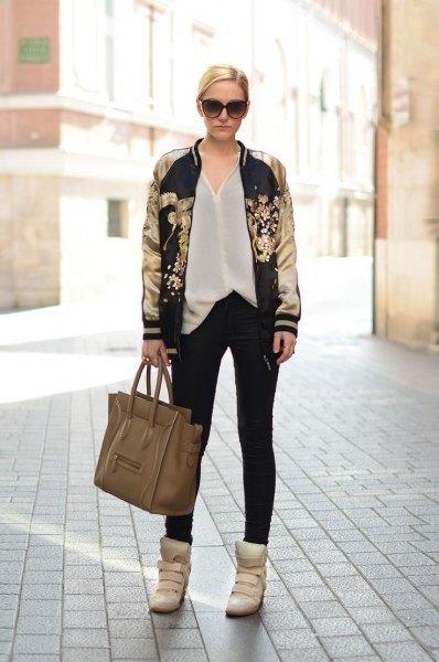 black and gold print bomber jacket white chiffon shirt
