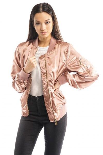 gold oversized bomber jacket white ribbed sweater