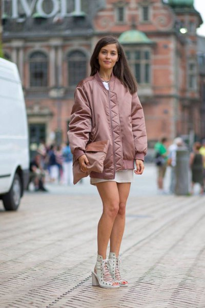 pink gold oversized bomber jacket white chiffon mini skirt