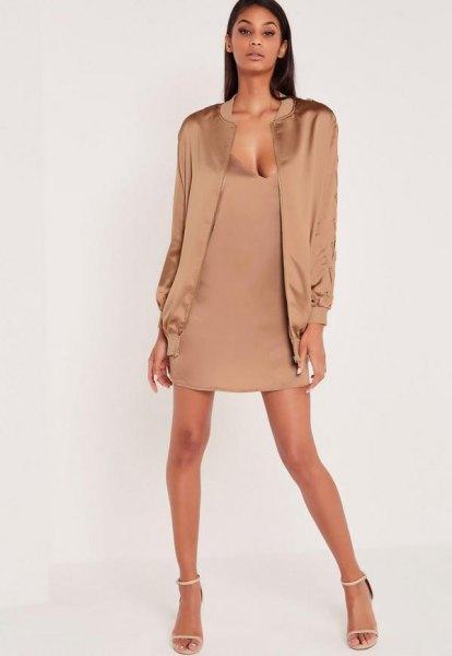 pink gold jacket pink silk deep v-neck mini shift dress