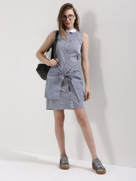 striped white collar shirt dress another tied around the waist
