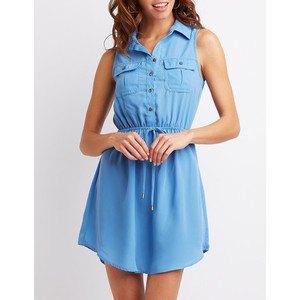 chambray gathered waist sleeveless mini-shirt dress