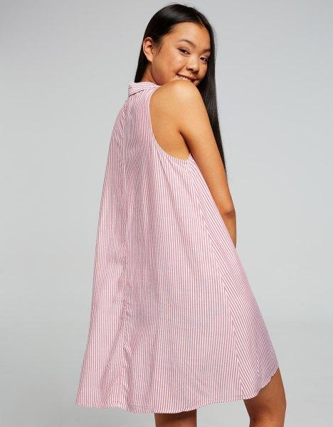 white and gray striped babydoll sleeveless shirt dress