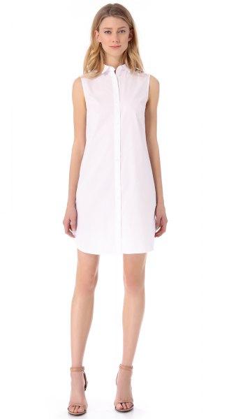 white chiffon sleeveless shirt dress light pink open toe heels