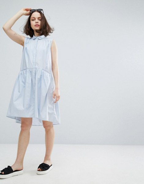 white babydoll round collar sleeveless shirt dress