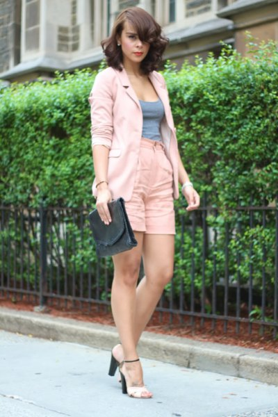 light pink blazer with high waist in linen shorts