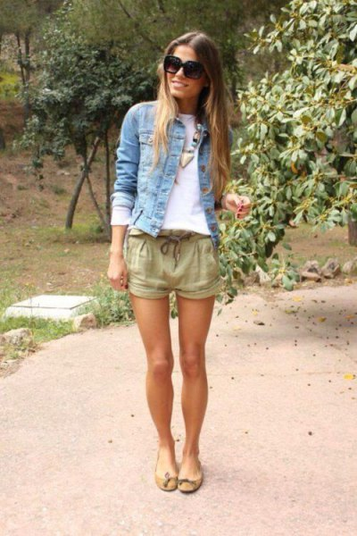 denim jacket crepe linen shorts