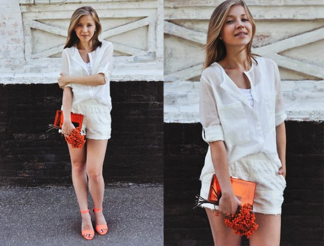 chiffon shirt white mini shorts