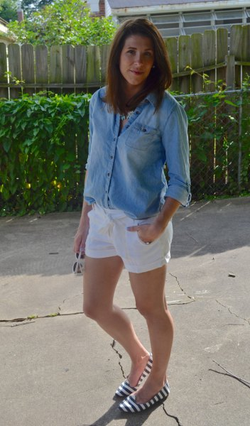 chambray button up shirt with white linen shorts