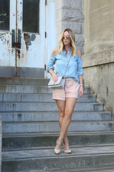 sky blue cold shoulder blouse blush pink linen shorts