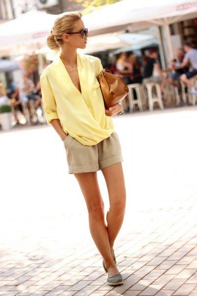 yellow chiffon plastic blouse pink linen shorts