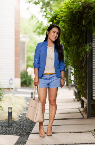 royal blue blazer sky blue shorts