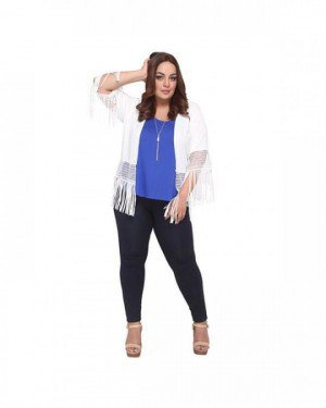white knit fringes pull up royal blue top