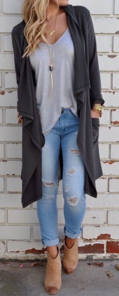 light gray v-neck t-shirt ripped boyfriend jeans