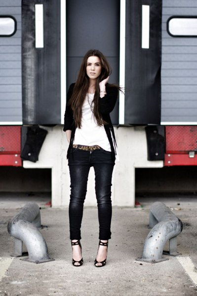 black suede french jacket skinny jeans