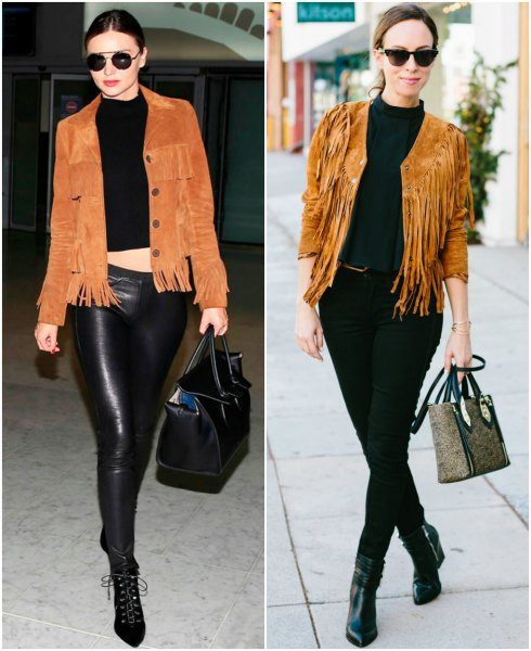 black cropped knitted sweaters of leather pants