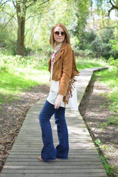 short brown french jacket white chiffon plant dress