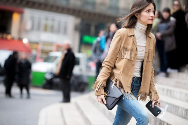 crepe suede French jacket white sweater