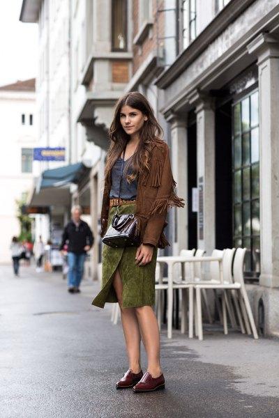 green suede wrap midi skirt