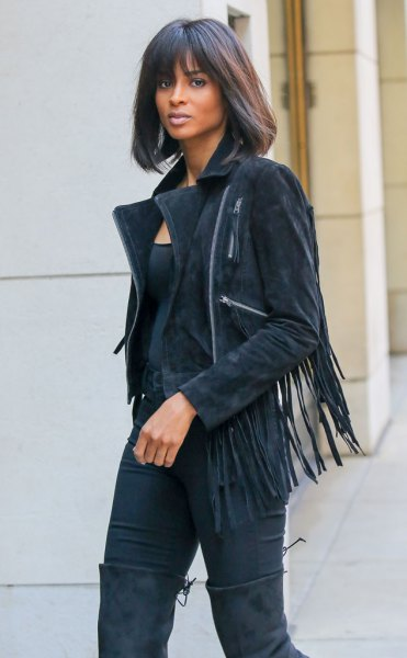 suede French jacket all black outfit