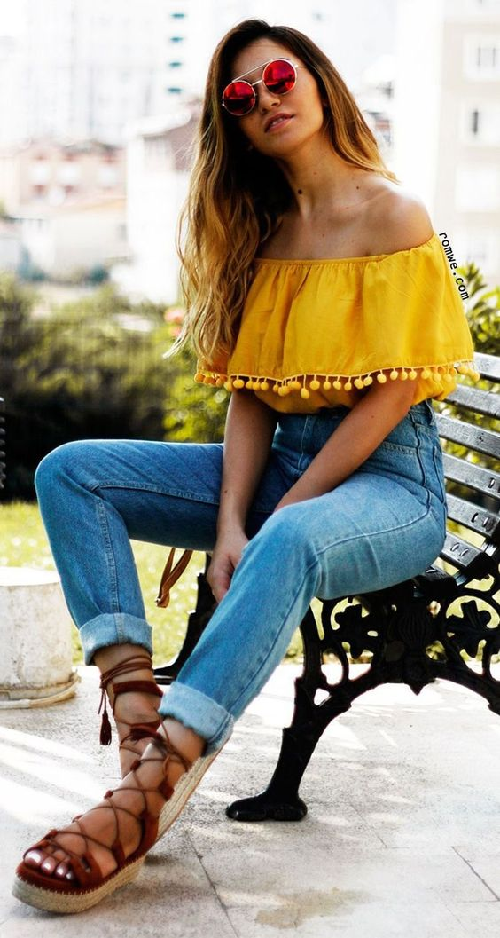 yellow of jeans with high waist