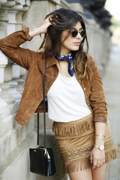 brown suede jacket france mini skirt