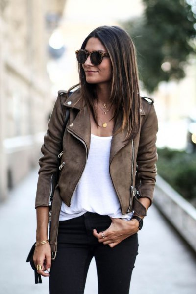 brown moto suede jacket white top with shoe neck