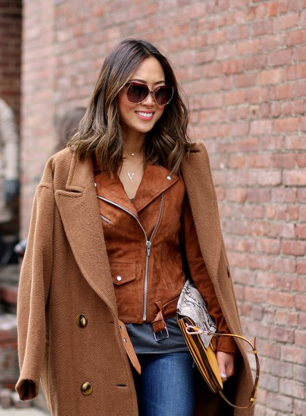 camel long jacket brown suede jacket