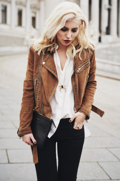 brown studded suede jacket white blouse black jeans