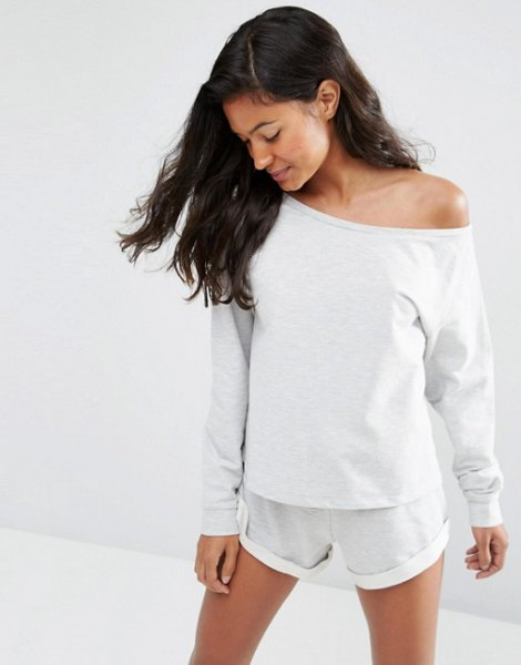 white sweatshirt mini shorts