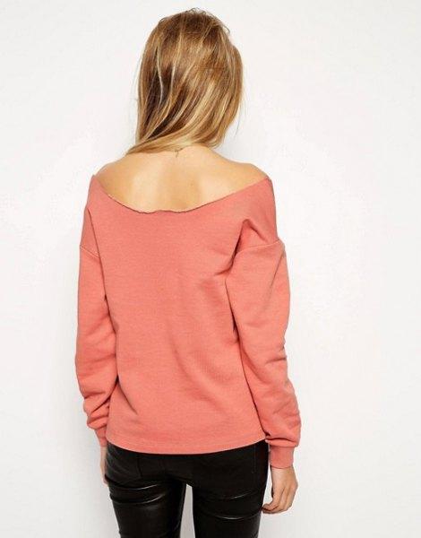 pink of shoulder black leather pants