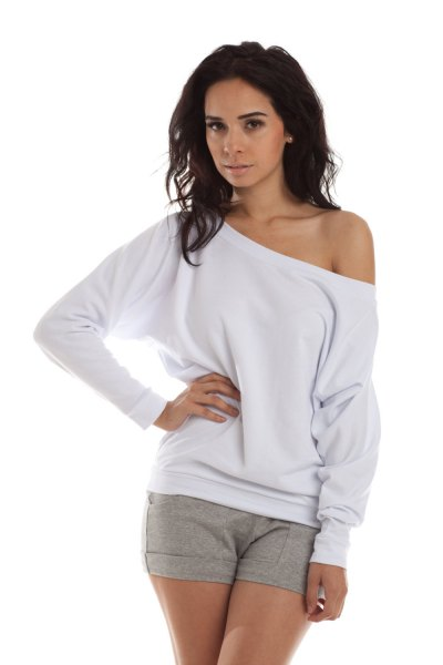 white off shoulder sweatshirt gray mini cotton shorts