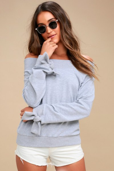 gray sweatshirt band details